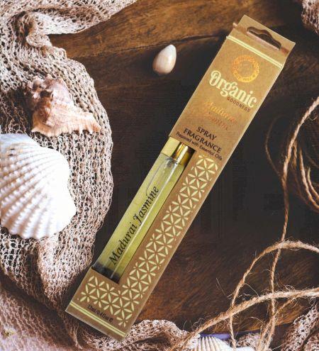 12ml. Madurai Jasmine Organic Goodness Fragrance Spray with Gold Pump