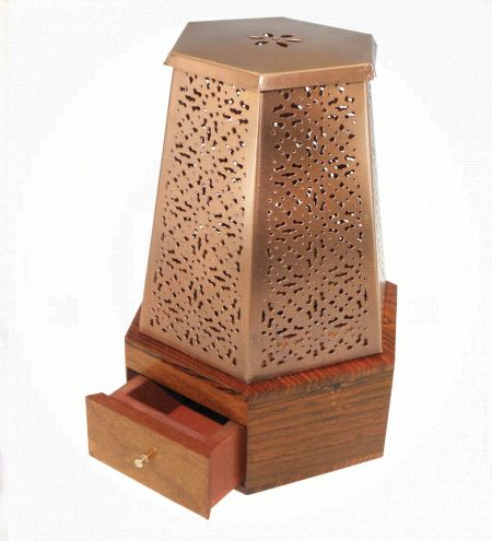 Hexagon Laser-Cut Metal Charcoal Burner with Wooden Base 8.75